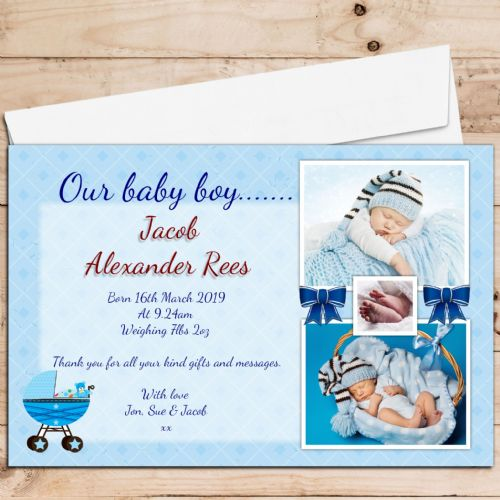 10 Personalised Baby Boy Birth Announcement Thank You PHOTO cards N58